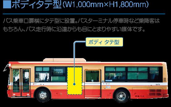 ■ボディタテ型(W1,000mm×H1,800mm):バス乗車口扉横にタテ型に設置。バスターミナル停車時など乗降客は もちろん、バス走行時に沿道からも目にとまりやすい媒体です。